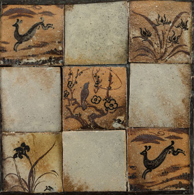 Panel of Nine Tiles, Copper Edge Support. Please click to see an enlarged image