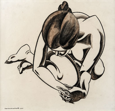 Crouching Nude, 1920. Please click to see an enlarged image
