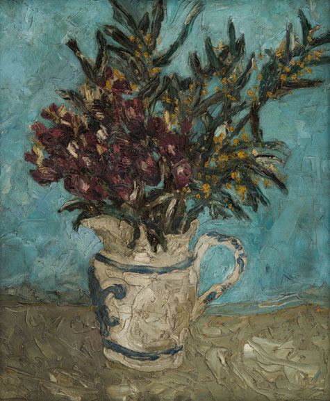 Flowers in a White Jug. Please click to see an enlarged image