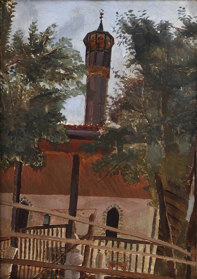 The Wooden Minaret, Sarajevo, 1922. Please click to see an enlarged image